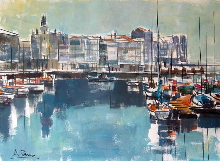 Barcos de pesca, puerto de A Coruña. acuarela sobre papel, 75 x 56 cm.