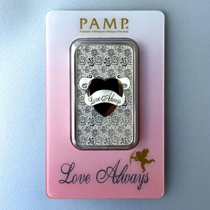 """Zwitserland - Pamp Suisse 1 999 oz zilver bar/zilver - liefde altijd - geweldig cadeau of investeringen  Pamp Suisse - liefde altijd1 ounce - 31.1 gram 999 zilver barEen prachtige bar uit Zwitserland perfect als een investering of een cadeau.De bar is veilig verpakt in een blister. De zuiverheid is bevestigd op de rug met certificaatnummer.Een grote prachtig gedetailleerde hart met het opschrift""""Love altijd"""" wordt gepresenteerd op de voorzijde omringd door vele roosjes.Op deze manier is een…"""