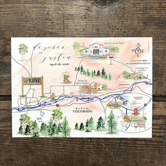 Custom Wedding Maps Personalized Wedding Maps Watercolor Wedding