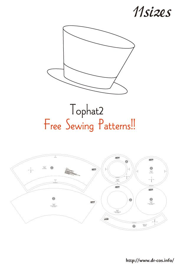 This Is The Pattern Of A Tophat2 Inch Size Letter Size 5 1 2 5 3 4 6 6 1 4 6 1 2 6 3 4 7 7 1 4 7 1 Hat Patterns To Sew Sewing Patterns Free Sewing Patterns
