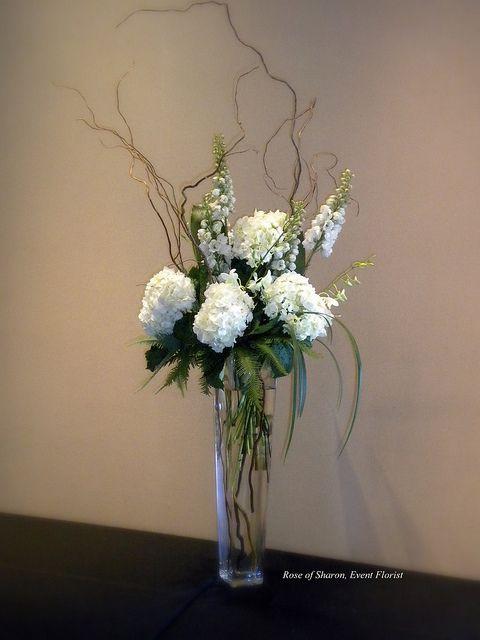 Tall Centerpiece: Hydrangeas, Delphinium, curly willow & grasses...  LOVE THIS!!