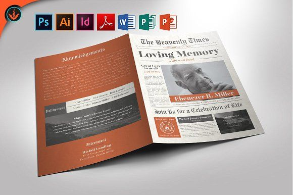 Newspaper Funeral Program Template by SeraphimChris on @creativemarket