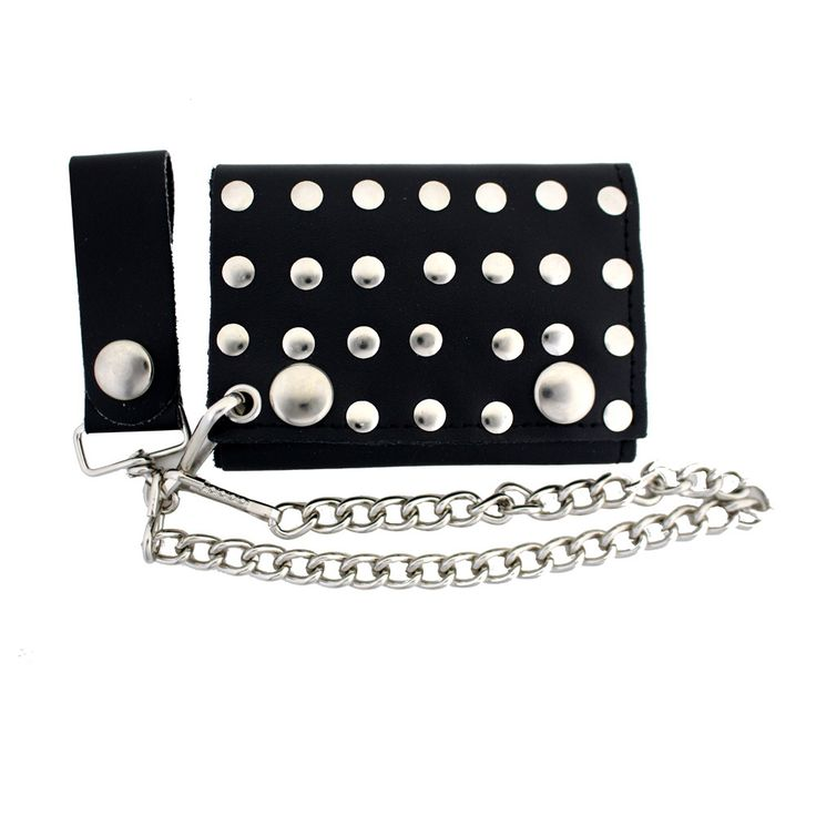 Purple Leopard Boutique - Men's Biker Black Leather Wallet with Chain Trifold Silver Riveted Studs , $19.00 (http://www.purpleleopardboutique.com/mens-biker-black-leather-wallet-with-chain-trifold-silver-riveted-studs/)