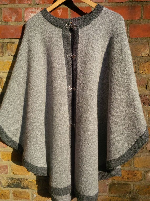 Pure Wool Ladies Poncho Gray with Dark Gray Border by ArtEstWool