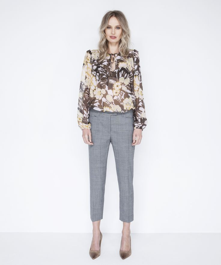 Chelsea Blouse - Sunset, Ines Cropped Trouser - Grey
