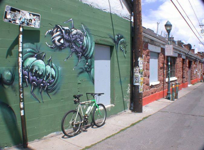 Picture of bicycle touring alleys in Flagstaff, AZ gettin the bugs out number 2