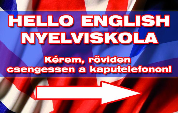 Hello English nyelviskola bejárati ajtó felirat