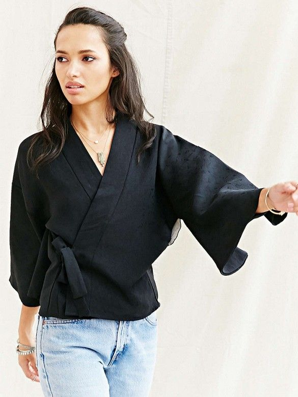 Urban Renewal Recycled Wrap Tie Kimono Jacket in Black