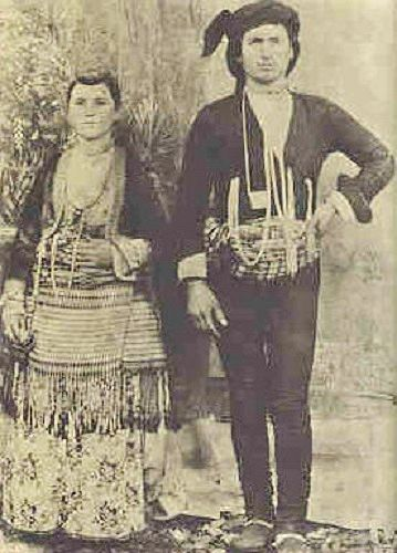 Traditional festive costumes of the Greek-Orthodox inhabitants from the Pontos region (Black Sea coast and hinterland).  Late-Ottoman era, late 19th century.  They were expelled from Turkey in 1923, in exchange for Muslim populations from Greece.  At this occasion Turkey lost a lot of cultural and economic potential, and the expelled lost their homeland.