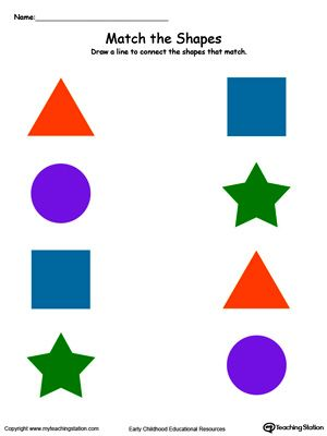 Match the Shapes in Color Education Shapes worksheets