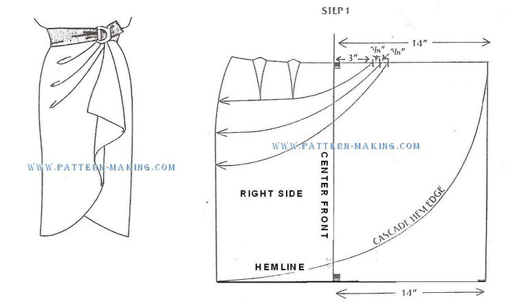 Sarong style skirt drafting