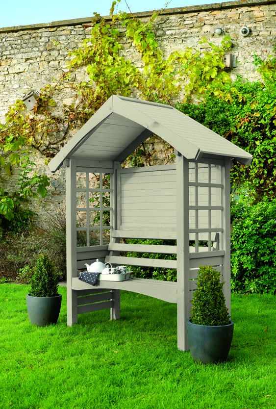 Cuprinol's Arabian Sand colour choice for garden Arbour and small shed.
