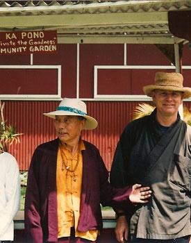 Gyaltrul Rinpoche and Robert Althouse at I Ka Pono Community Garden Farmer's Market on Big Island of Hawaii.