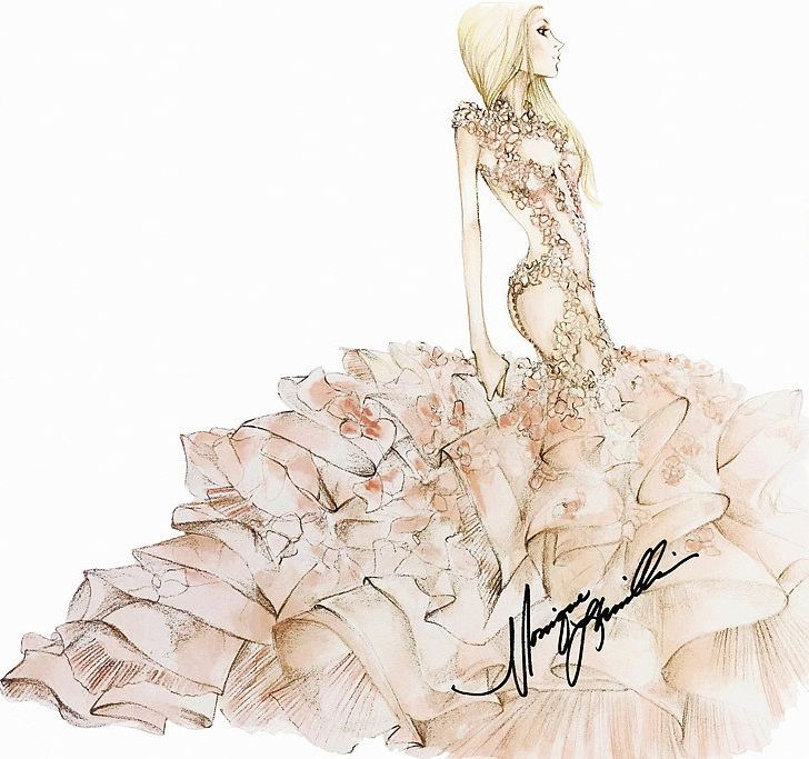 Monique Lhuillier's sketch of Lady Gaga's wedding dress.