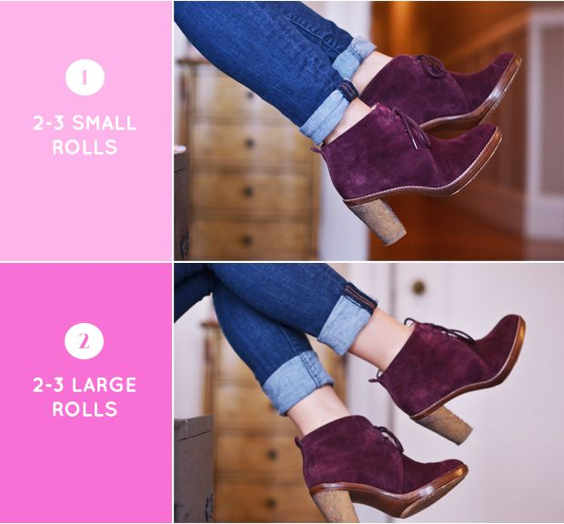 How to Roll Your Jeans Based on Pant Style and Shoe. How helpful!