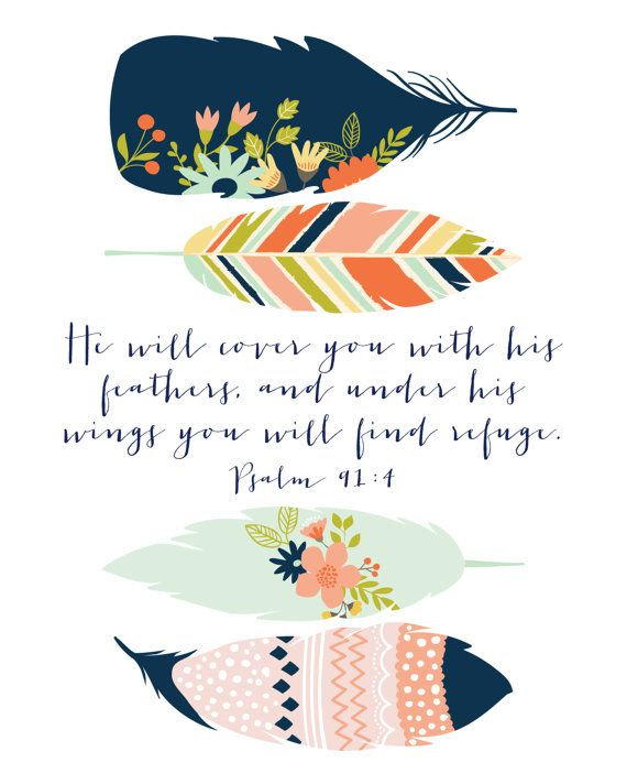 Scripture Print 8x10 or 5x7 Psalm 91:4 by RootedInk on Etsy