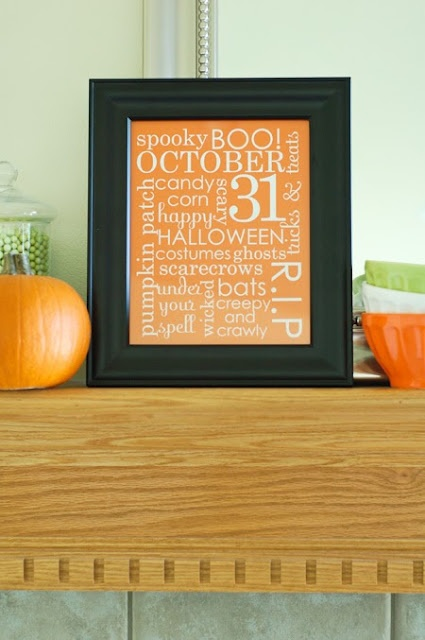 all things simple: Halloween word art printable update   You could also do this with scrapbooking paper and add some felt bat cutouts. I do similar framing great Christmas cards as holiday decor...