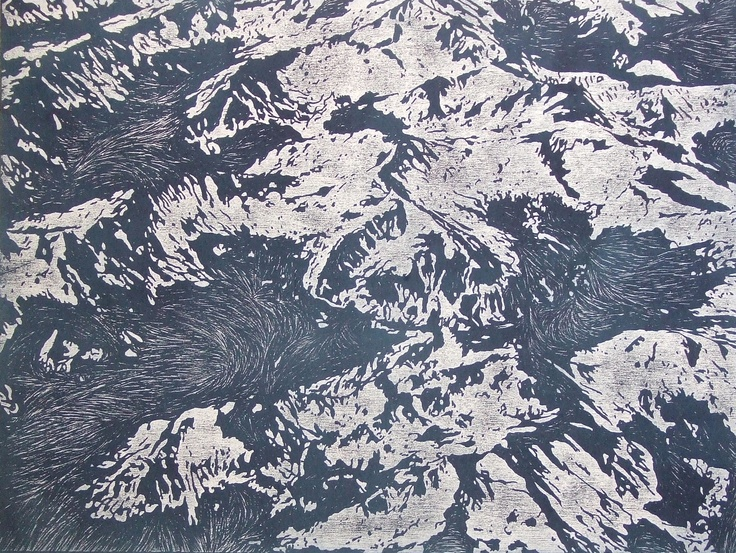 The world is abstract #4 (2009) by Katsutoshi Yuasa; Oil-based woodcut on painted paper; 54cm x 72cm; Artify Gallery