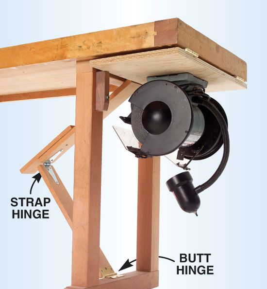 Hold It! Roll It! Hang It! Store It!    My bench grinder is out of the way but instantly accessible, thanks to this sturdy flip-up table. It works great and it's simple to make. You'll only need a scrap of 3/4-in. plywood that's 1/2-in. narrower than the overhang, four 3-in. butt hinges, a strap hinge and a length of 1×4.      Build It  …