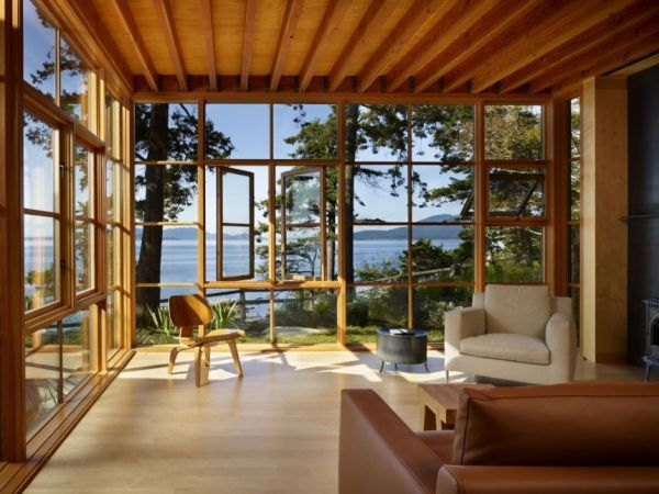 Living Room, Amazing Open Living Room With Wonderful Sea View Intriguing Brown Leather Sofa Stunning Framed Window Interesting Wooden Ceilin...