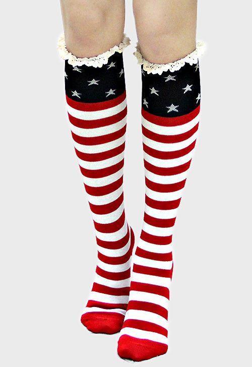 American Flag Lace Trim Knee High Boot Socks                                                                                                                                                                                 More