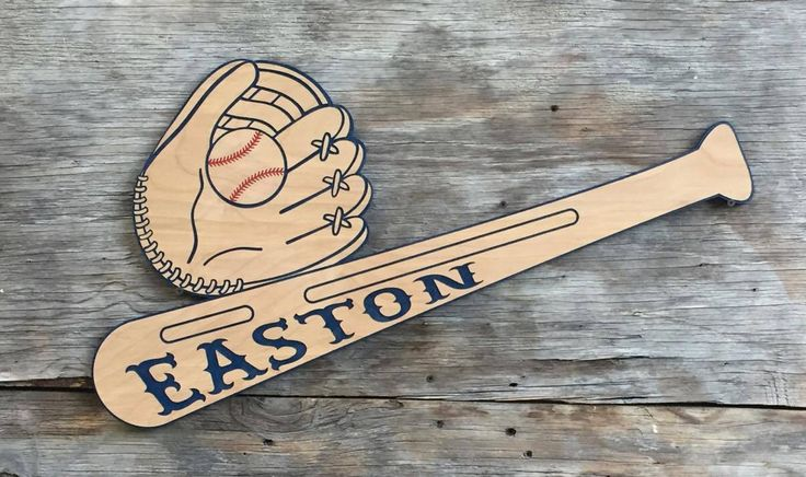 Baseball Bat Ball and Glove Wooden Wall Decor Kids room baby room decor by Southernkeeps on Etsy https://www.etsy.com/listing/478722312/baseball-bat-ball-and-glove-wooden-wall