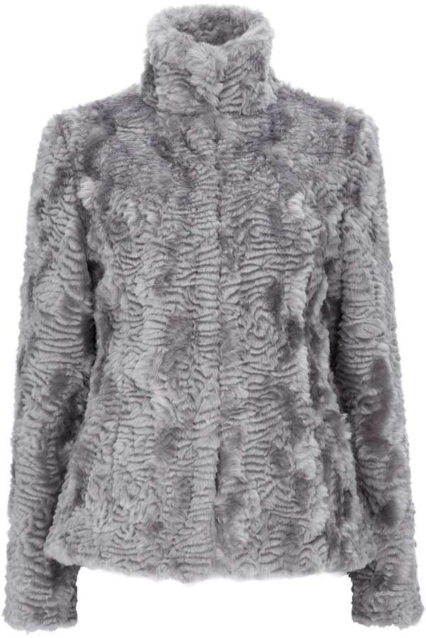 Grey Short Faux Fur Funnel Coat