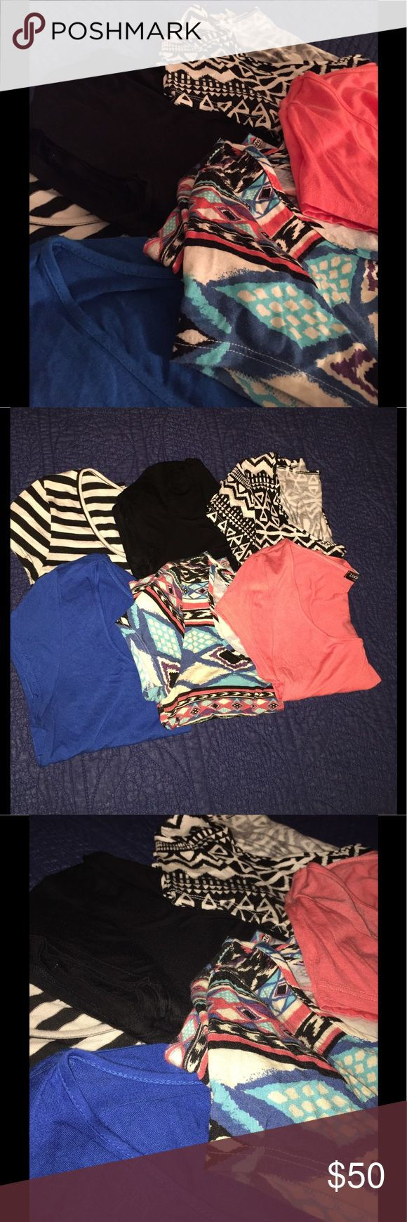 """WEEKEND SALE!! Assorted """"Living Doll"""" Crop Tops All size medium. Price is for all or $10 each. Black and white stripes, black, black and white tribal, blue, multicolored tribal, peach/orange color. Living Doll Tops Crop Tops"""