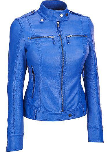 Women blue leather jacket women biker leather by Myleatherjackets, $189.99