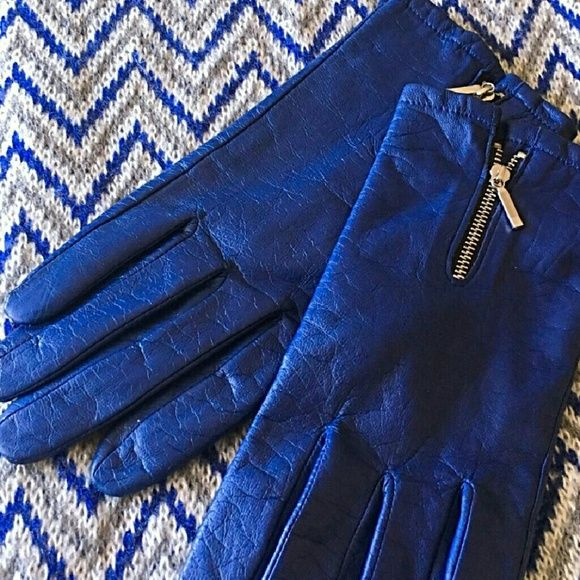 MERONA Blue Leather Gloves Classy leather gloves with silver zippers on top Merona Accessories Gloves & Mittens