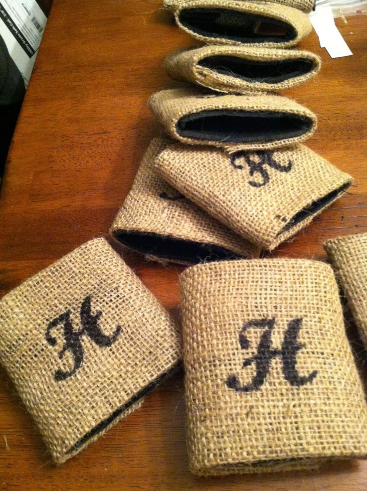 Groovy Diy Why Spend More Diy Burlap Wrapped Koozies For Wedding Funny Birthday Cards Online Chimdamsfinfo