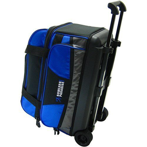 """BowlersParadise.com Double Roller Bowling Bag by BowlersParadise.com. $59.99. Wheels are 3"""" in diameter for easier maneuvering. Dimensions (L: 21"""") (H: 15"""") (W: 13""""). 1 Year Complete Warranty"""