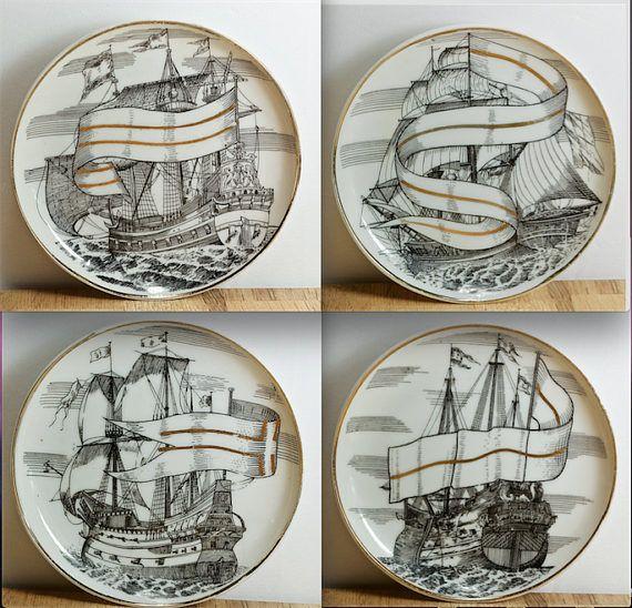 Vintage MidCentury Modern Fine Porcelain Coaster Set