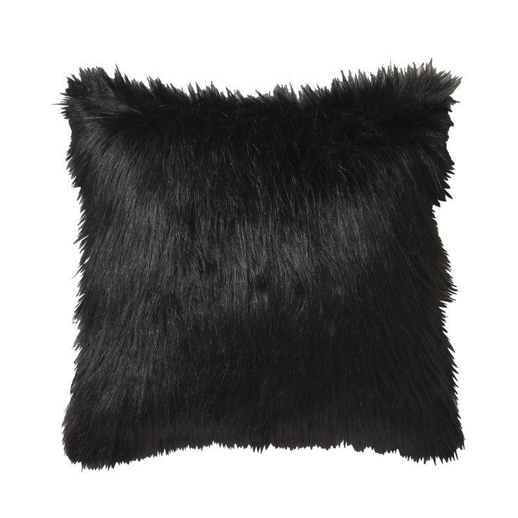 LOGAN & MASON ACCESSORIES - Barkley Black Square Cushion #black #accessories #faux #fur #cushion #home #décor #style #fashion #loganandmason