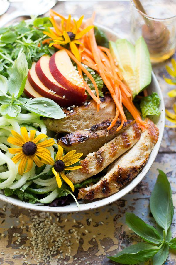 California Honey Peach Grilled Chicken and Avocado Salad