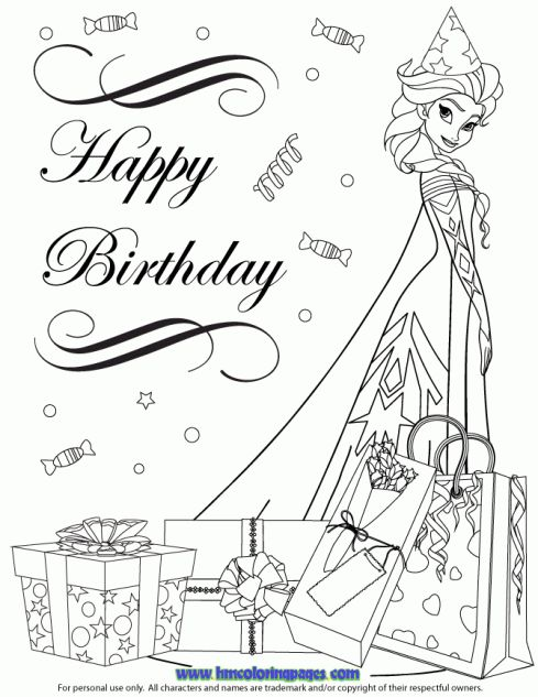 elsa coloring pages happy birthday - photo#16