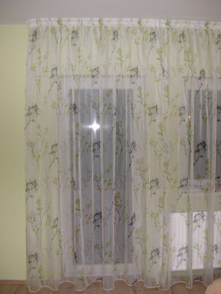 Hálószoba – len hatású virág mintás fényáteresztő függöny