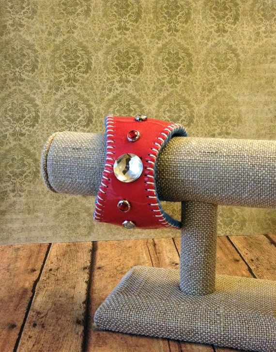 St. Louis Cardinals Red Bling Baseball Bracelet Cuff