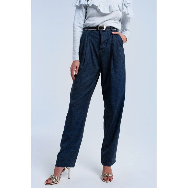 Gray tartan pattern pants #womentrousers