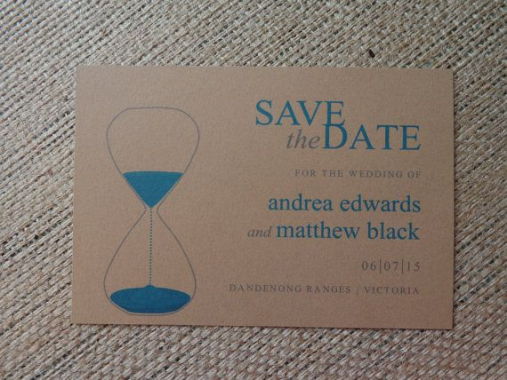 Save the Date Invitation Card hour glass hand by CreateTheDate, $2.10