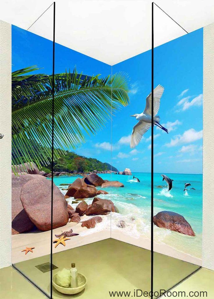 3D Wallpaper Tropical Sea Rock Beach Fish Beach Wall Murals Bathroom Decals Wall Art Print Home Office Decor