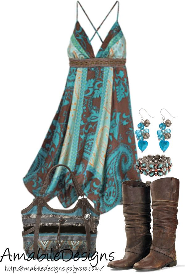 """""""Country Chich"""" by amabiledesigns on Polyvore. I wouldn't wear the boots or carry the bag, but I really like the dress."""