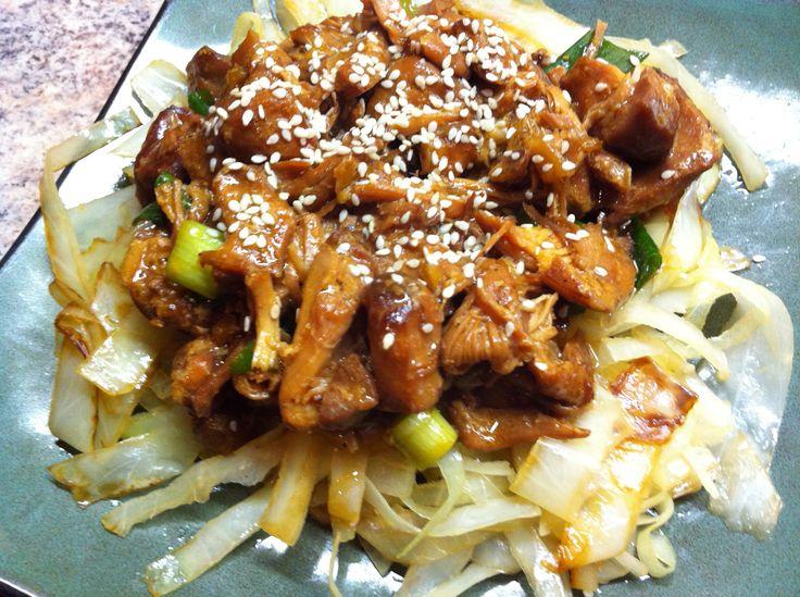 Crockpot Honey-Ginger Chicken & Cabbage Noodles