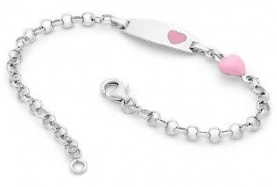 Pink Heart Baby ID Bracelet, $69.95 at the Greek Wedding Shop ~ http://www.greekweddingshop.com/