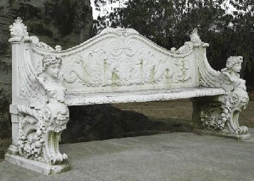 Italian Garden Bench For Sale | AN ITALIAN WHITE MARBLE GARDEN BENCH | LATE  19TH CENTURY