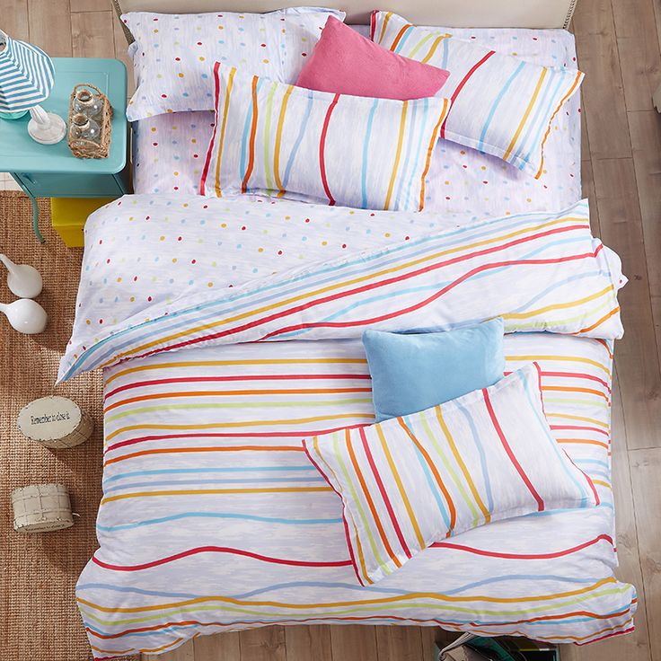Esydream Home Bedding 4PC,Bright colored bedding,100% Polyester Twin Size Fresh White Duvet Cover,Queen Size Striped Bedspreads