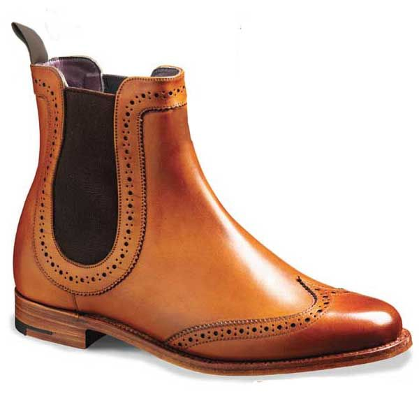 Barker Shoes - Sabrina - Ladies Brogue Boots - Cedar. Brown Chelsea Wingtip Brogue elasticated Made in England. 7mm Leather Sole BarkerFlex Comfort System