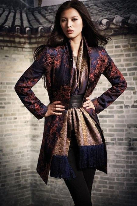 Shanghai Tang. love the belted scarf and fabrics