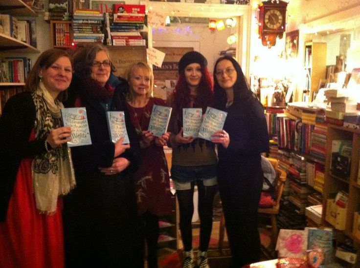 Little Island's Elaina O'Neill and Siobhan Parkinson with Felicity McCall at her launch, and Janet Devlin and Jenni Doherty of Little Acorns Bookstore in Derry