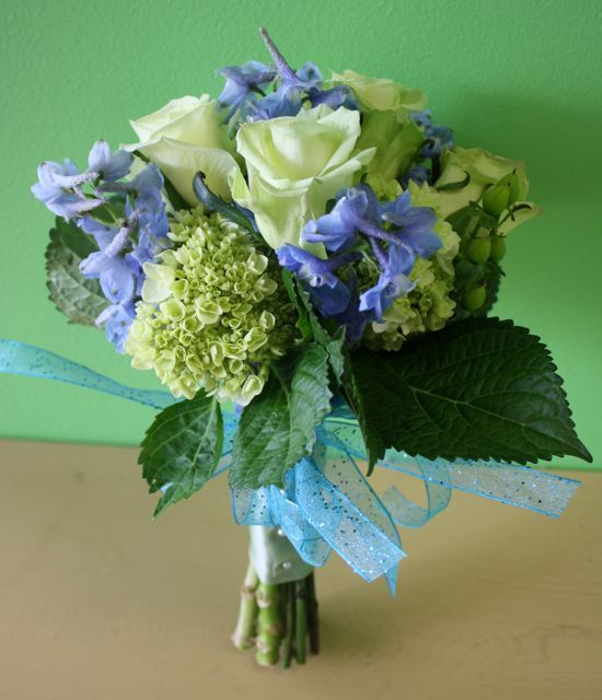 Lime Green And Blue Bouquet 97